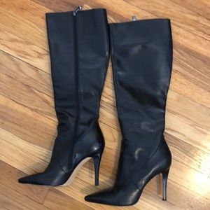 Via Spiga black leather tall boots size 8.5
